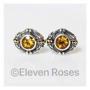 Lagos Caviar Sterling & 18k Gold Citrine Earrings
